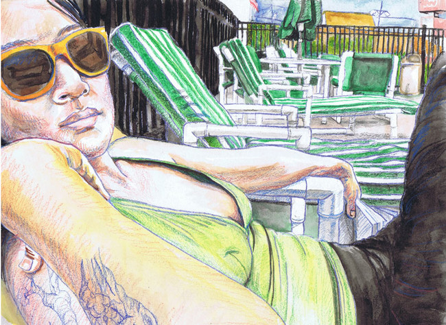 """""""By the Poolside with Sunglasses"""", 9"""" x 12"""", watercolor pencil on paper, N.F.S."""