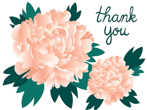 Pink Peonies - Thank You Card
