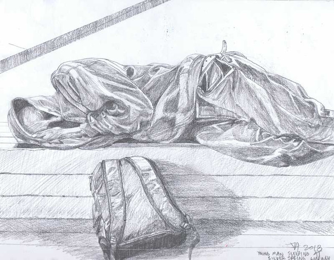 """""""Young man asleep at the Silver Spring library"""", pencil on 9"""" x 12"""" paper, $250"""
