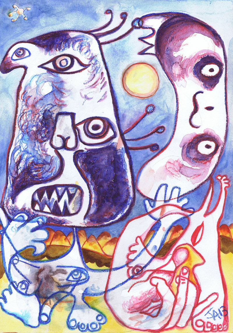 """""""Two lovers at night with Miro"""", 9"""" x 12"""", watercolor crayon on paper, sold"""