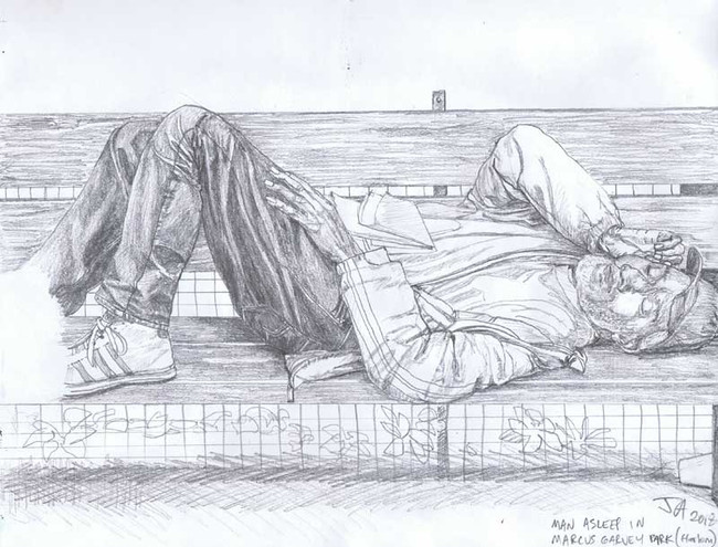 """ Man asleep in Marcus Garvey Park, Harlem,"" pencil on 9"" x 12"" paper, $250"