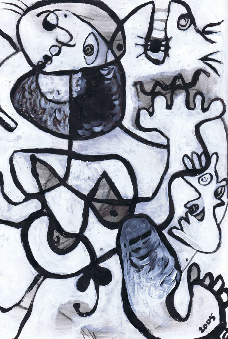 """""""Chasing Miro"""" 11"""" x 17"""", Acrylic and charcoal on paper, sold"""