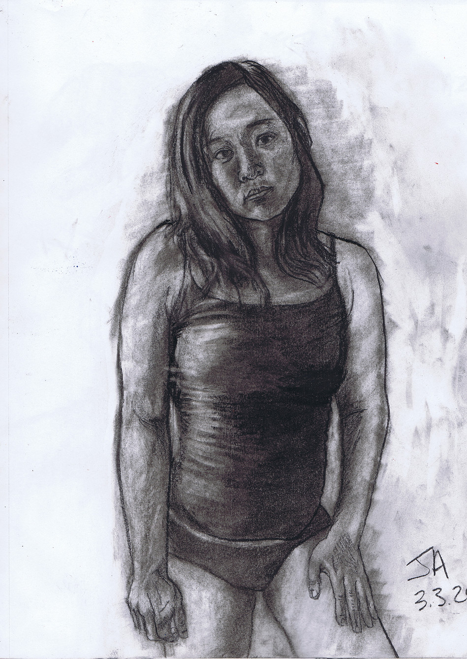"""Portrait of Jaylene looking at me"", charcoal on 11"" x 14"" paper, $300"