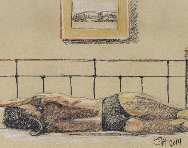 """Nude Female Reclining"", 9"" x 12"", pastel on brown paper, N.F.S."