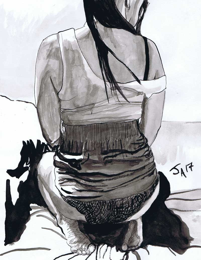 """Back of model undressing..."", 9"" x 12"" ink on paper, N.F.S."
