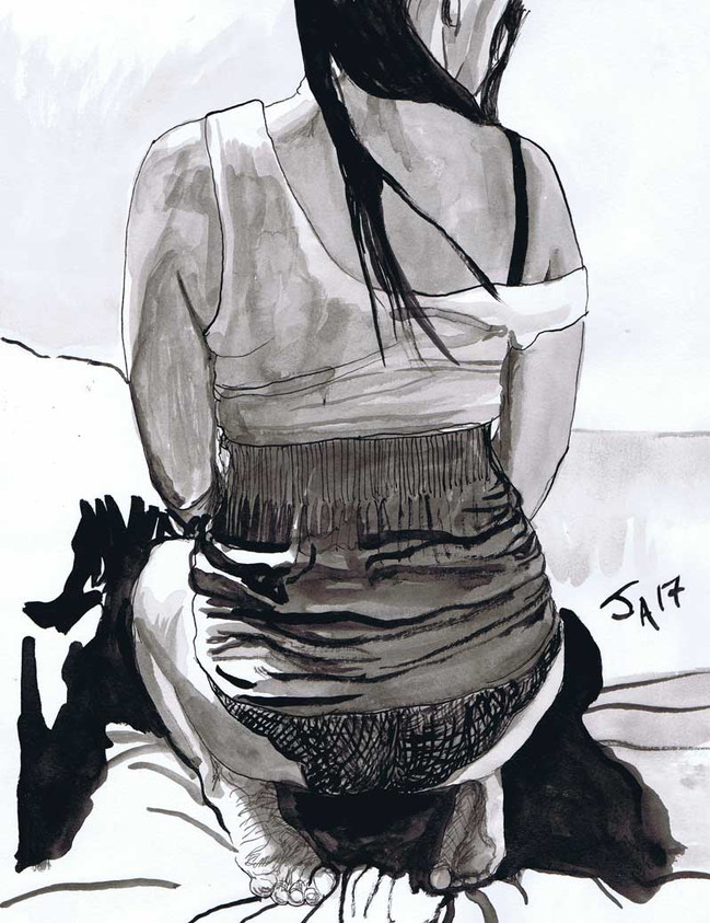 """""""Back of model undressing..."""", 9"""" x 12"""" ink on paper, N.F.S."""