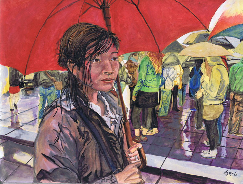 """Jaylene in front of Musee Dorse in rain"", 9"" x 12"", watercolor on brown paper, N.F.S."