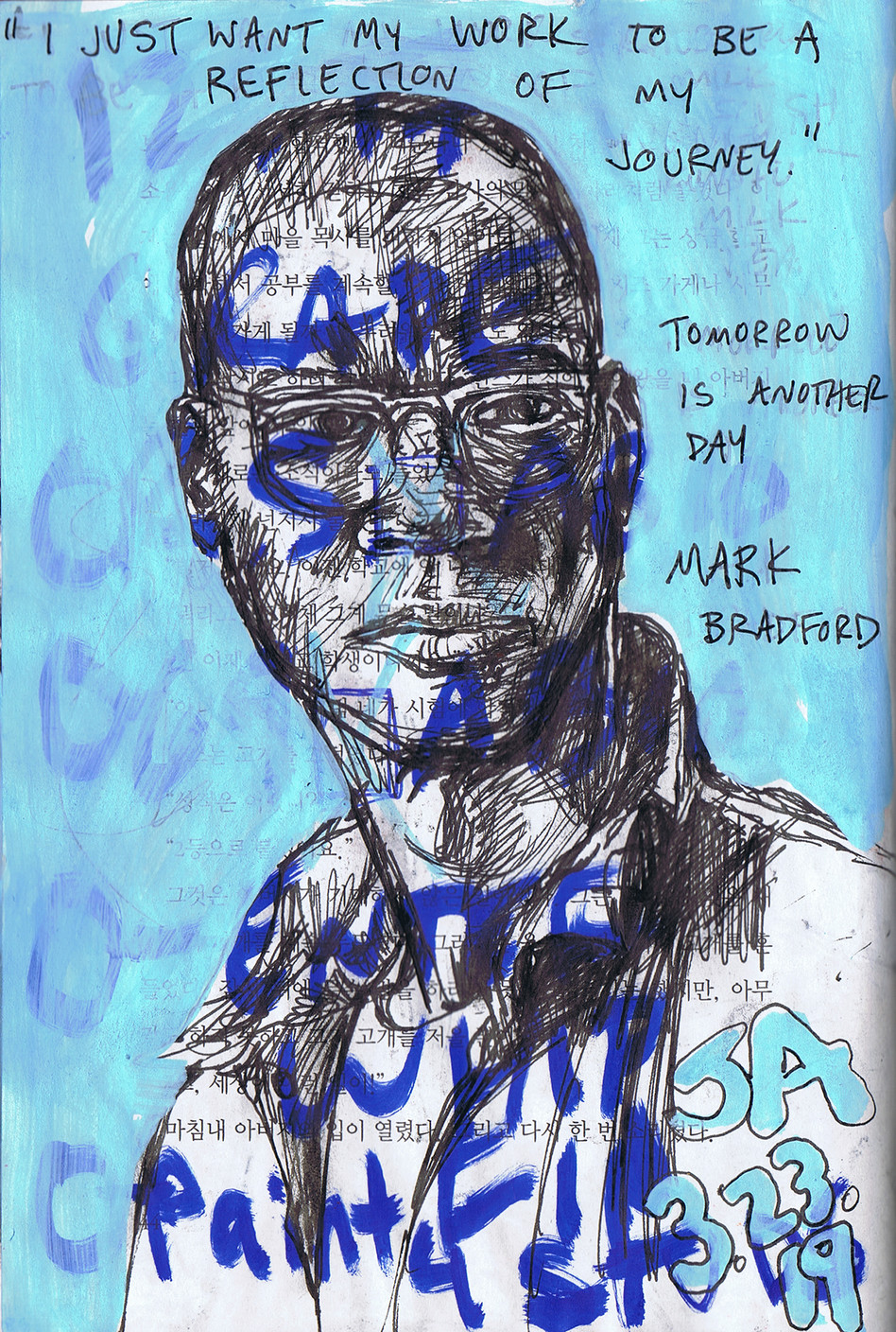 """Portrait of Mark Bradford"", mixed on repurposed book, 6"" x 8"", N.F.S."