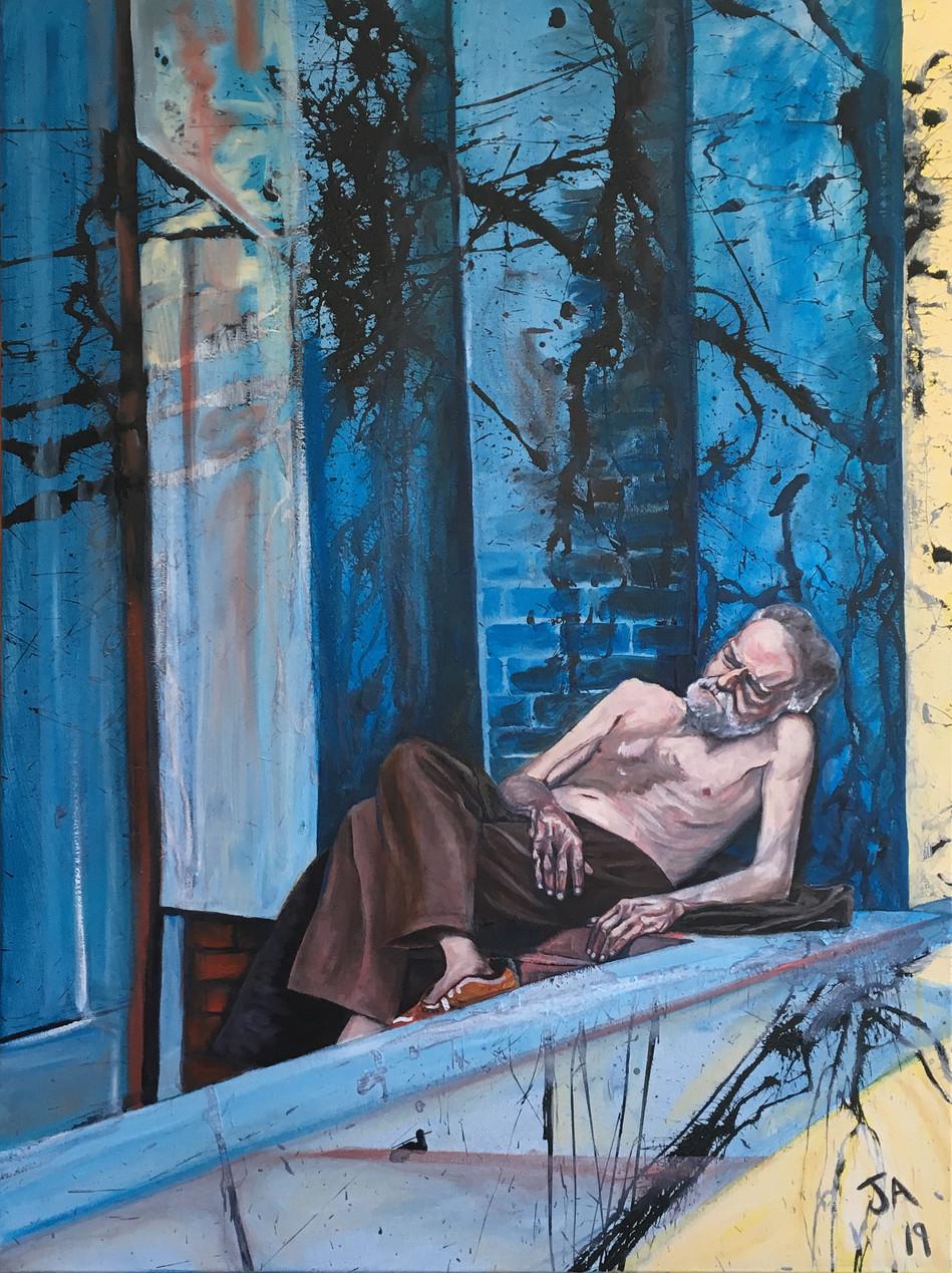 """Man asleep in Manhattan"", oil on 30"" x 40"" canvas"