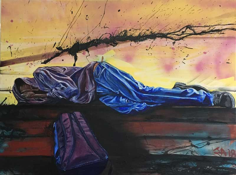 """""""Young man asleep at the Silver Spring Library"""", oil on 30"""" x 40"""" canvas, $3000"""
