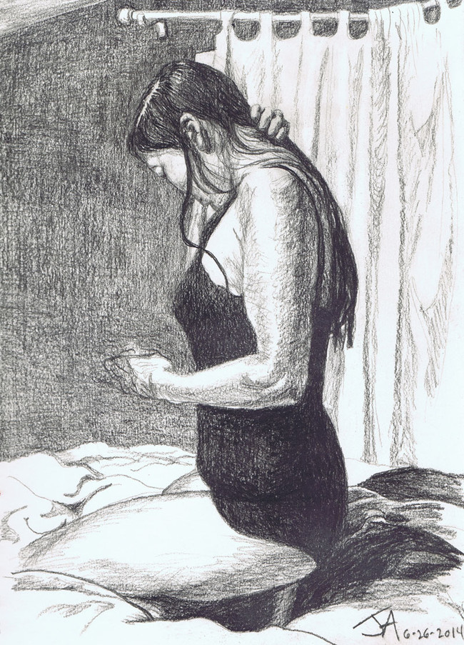 """""""Putting her hair back"""", 9"""" x 12"""", charcoal on paper, N.F.S."""