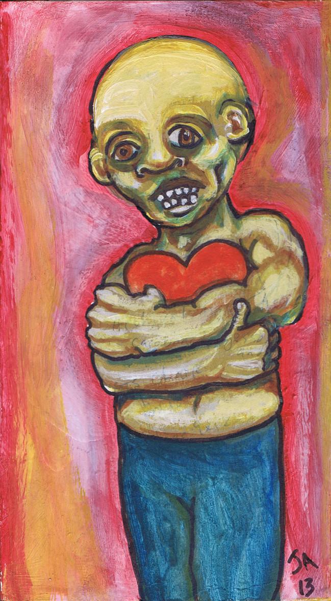 """""""Holding Heart"""", oil on gessoed cardboard, 5"""" X 9"""", $300"""