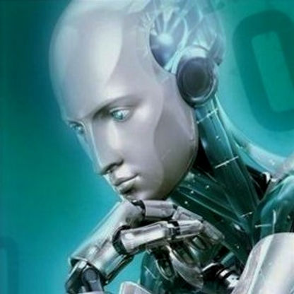 Robot posing as a deep thinker with chin resting on hand