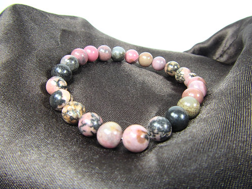 Rhodonite Bracelet - 8mm beads