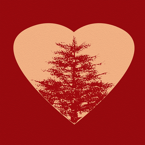 Abstract Pine Tree inside a Heart