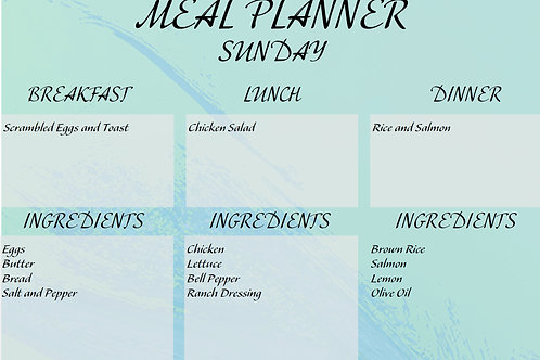 Fillable Weekly Grocery List and Meal Planner