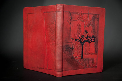 """Hand made genuine hardcover leather notebook journal """"Vacation in Provence"""""""