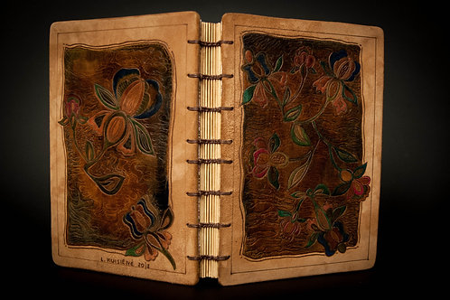 """Unique handmade hardcover genuine leather notebook journal """"Floral"""""""