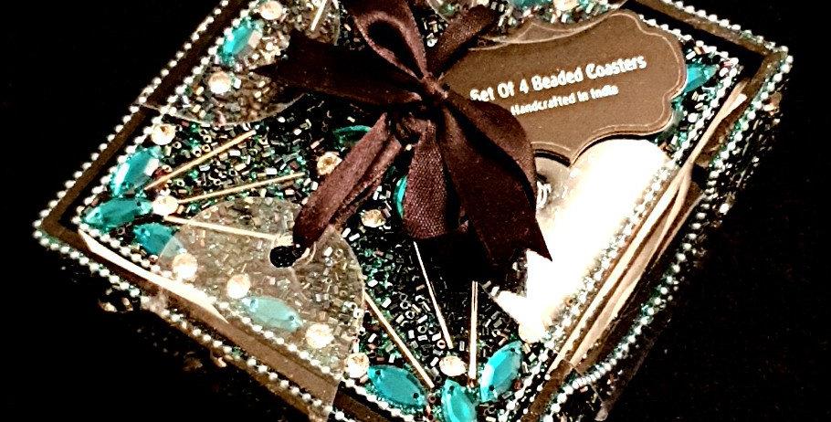 Beaded coasters, box of 4 dazzling coasters.