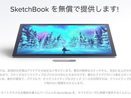 Autodesk Sketchbookが無償に。