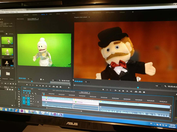 Green screen chrome key with puppets