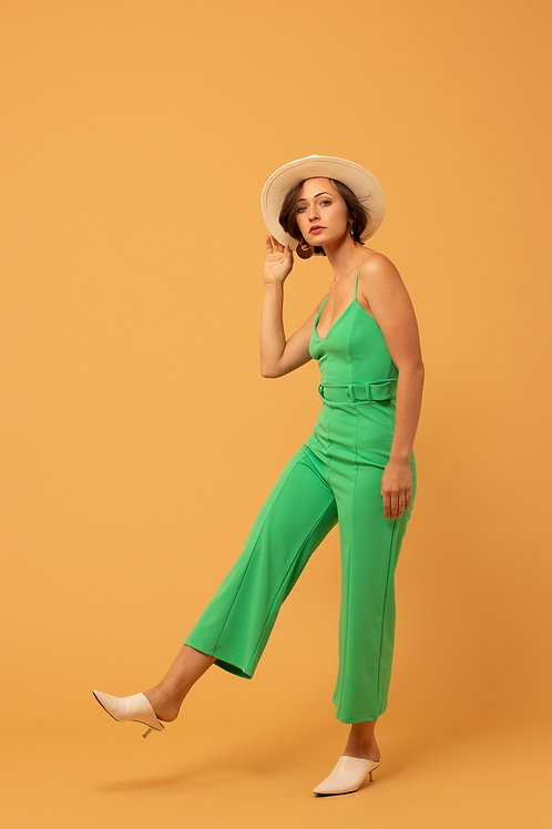 Kelly Green Cropped Jumpsuit