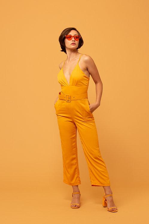 Apricot Plunge Jumpsuit
