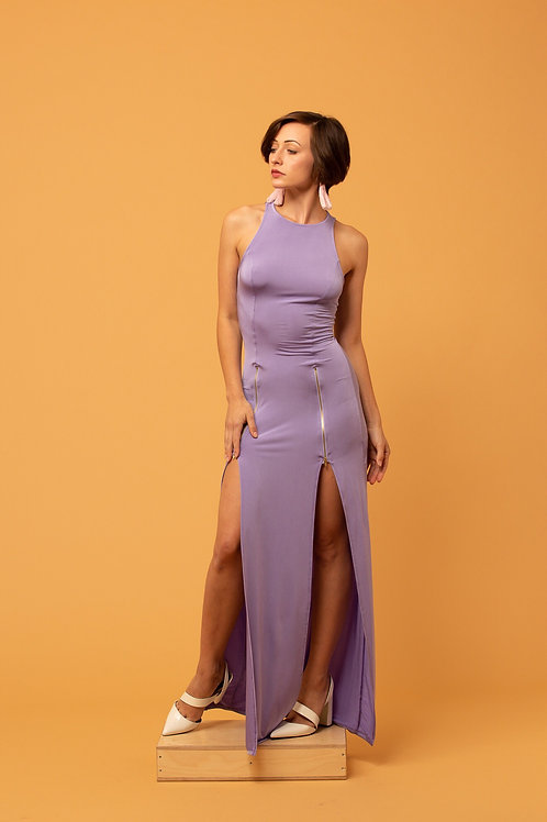 Lavendar Zip Maxi Dress