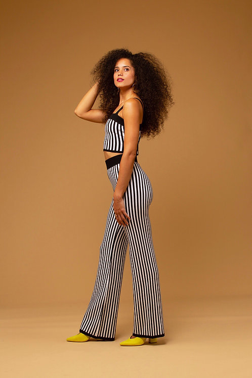 Even Flare Striped Two Piece