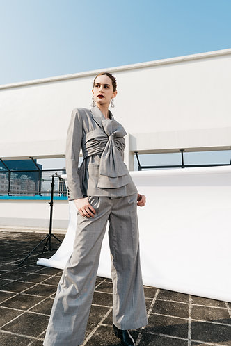 Grey Check Wide Trousers