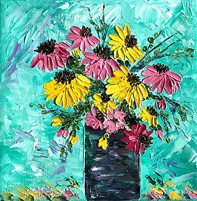 Pink and Yellow Daisies in Black Vase 8x