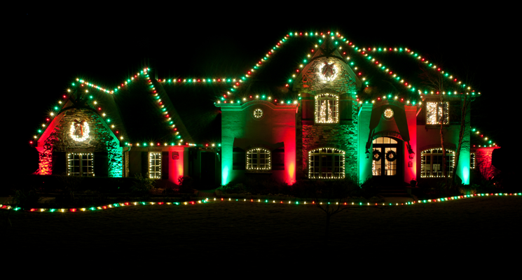 red and green christmas lighting