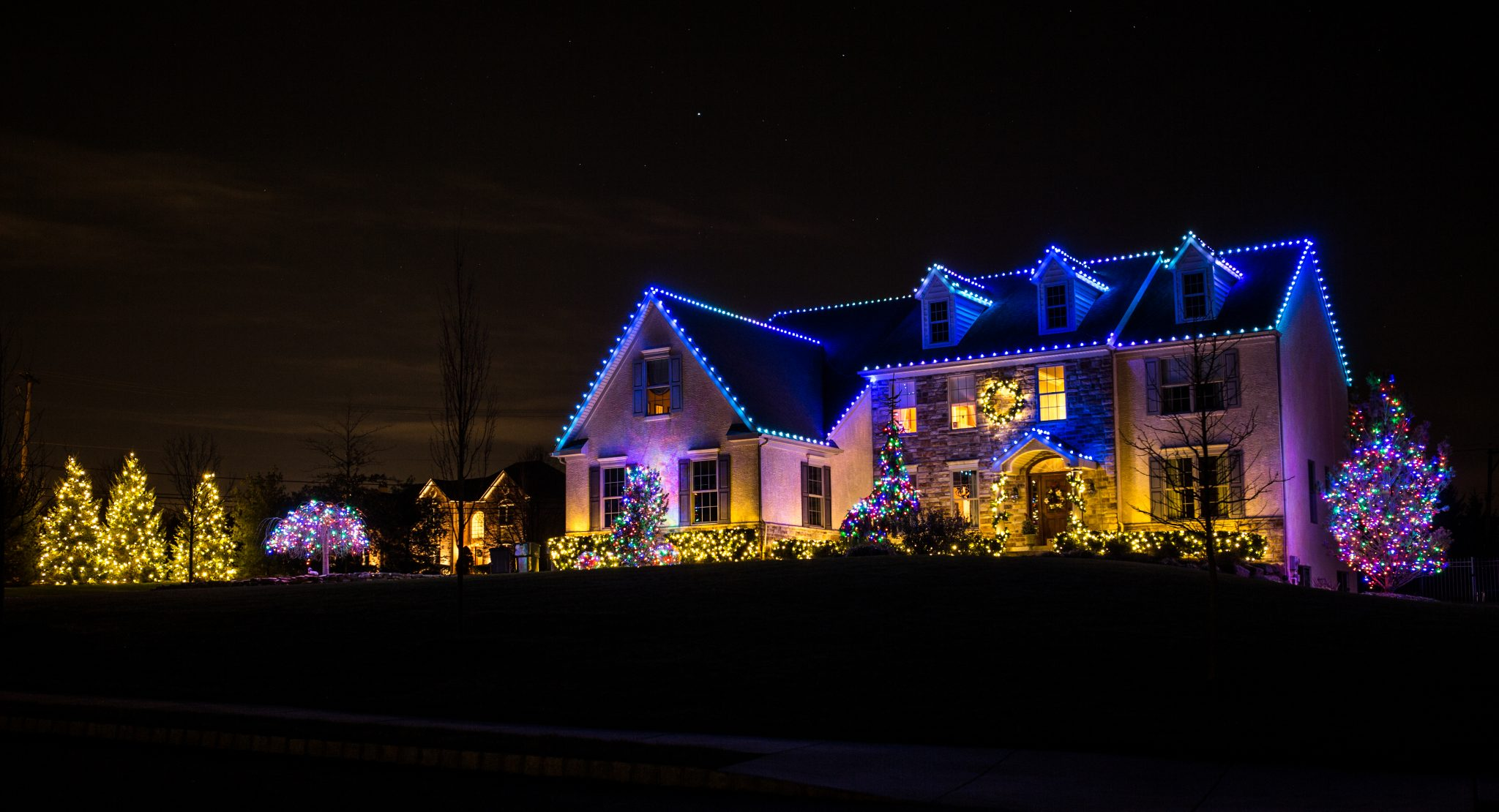 christmas lighting blue
