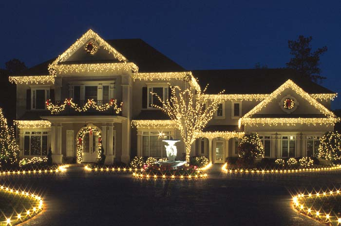 white christmas lighting on home