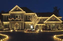 white christmas lighting on home