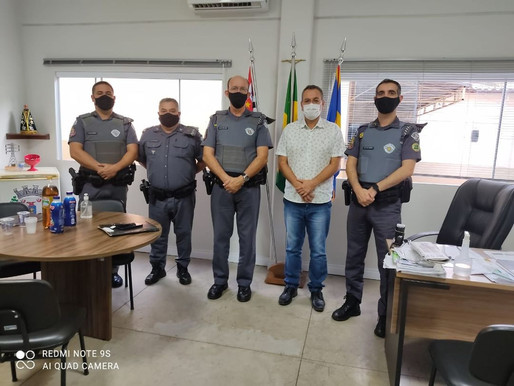 O prefeito de Herculândia Paulinho recebeu em seu Gabinete o novo comandante do 9º Batalhão BPMI