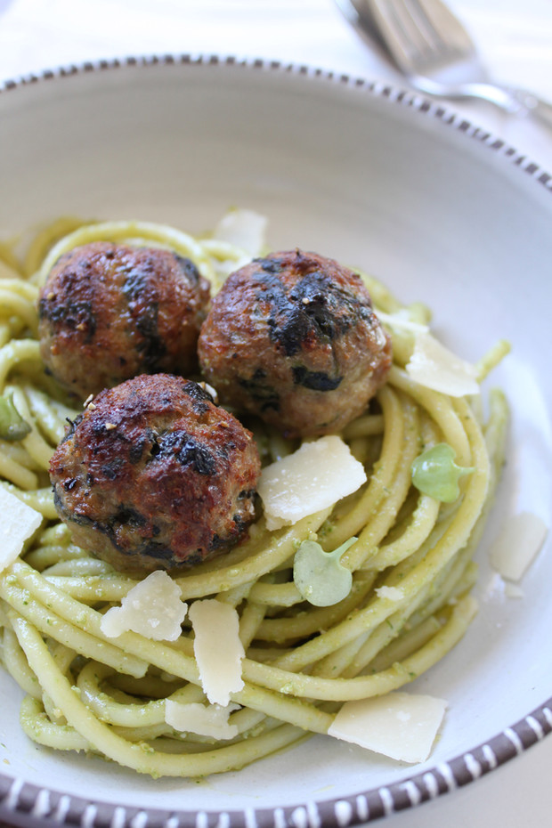 Spinach, Chicken, & Veal Meatballs with Cashew Pesto & Bucatini