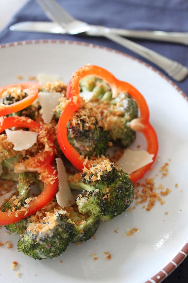Roasted Broccoli Caesar with Jalapenos & Panko