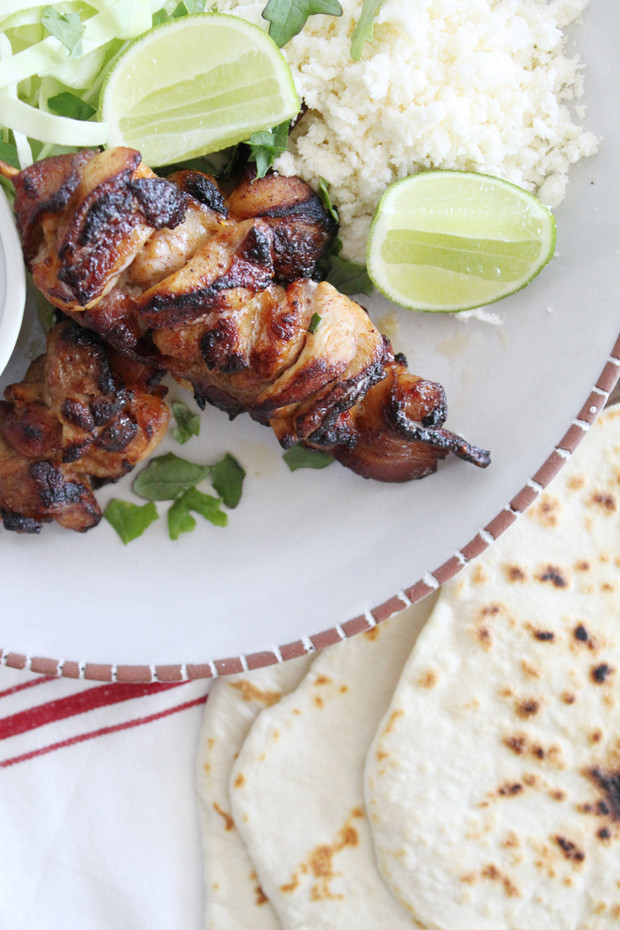 Grilled Korean Chicken & Bacon Skewers with Homemade Tortillas & Cotija Cheese