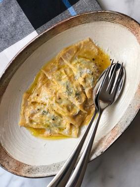 Spinach Ricotta Ravioli with Butternut Squash