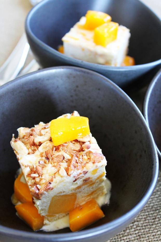 Toasted Almond Mango Meringue Semifreddo