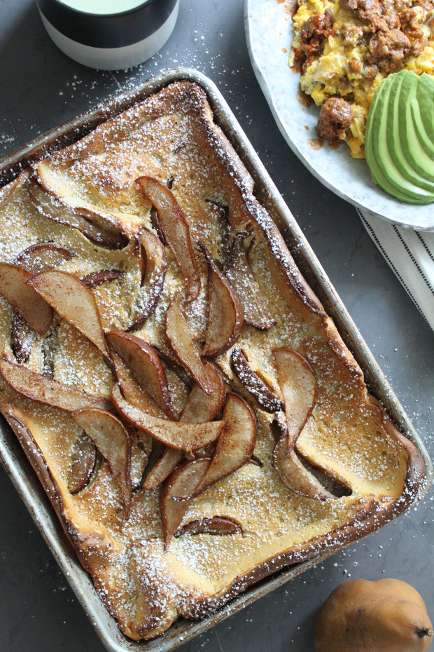 Roasted Pear Sheet Pan Dutch Baby