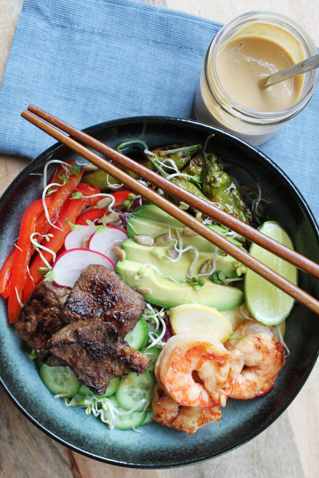 Prawn & Shortrib Noodle Bowl with Peanut-Ginger Sauce