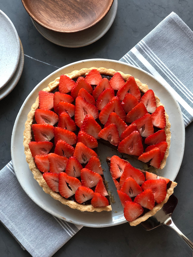 Chocolate Strawberry Budino Tart
