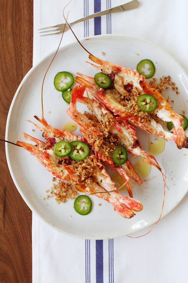 Santa Barbara Prawns with Brown Butter Panko & Pickled Jalapenos