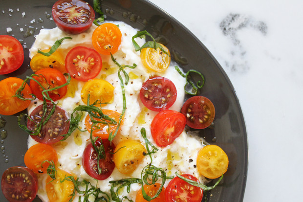 Burrata with Cherry Tomatoes, Basil, & Aged Balsamic