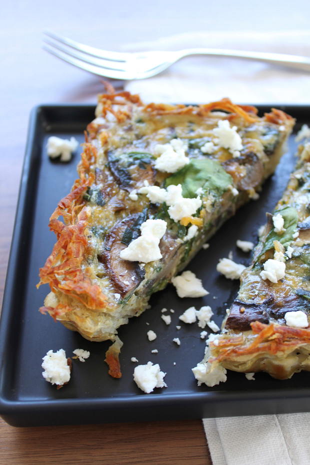 Hash-Brown Crusted Spinach, Mushroom & Goat Cheese Quiche