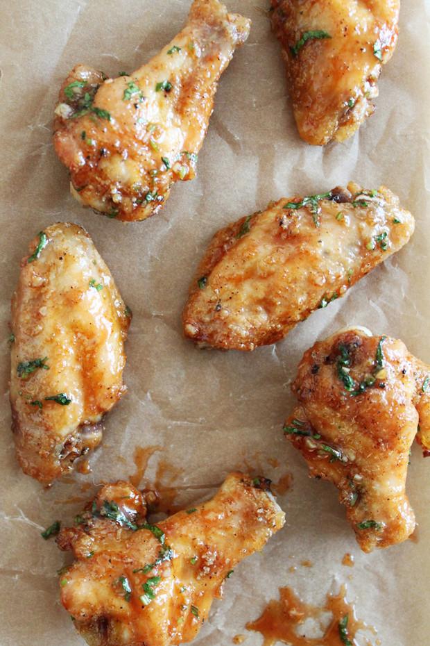 Honey Cilantro Sriracha Baked Chicken Wings