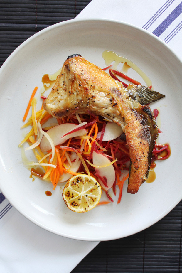 Broiled Yellowtail Collar with Pickled Carrots & Nectarines