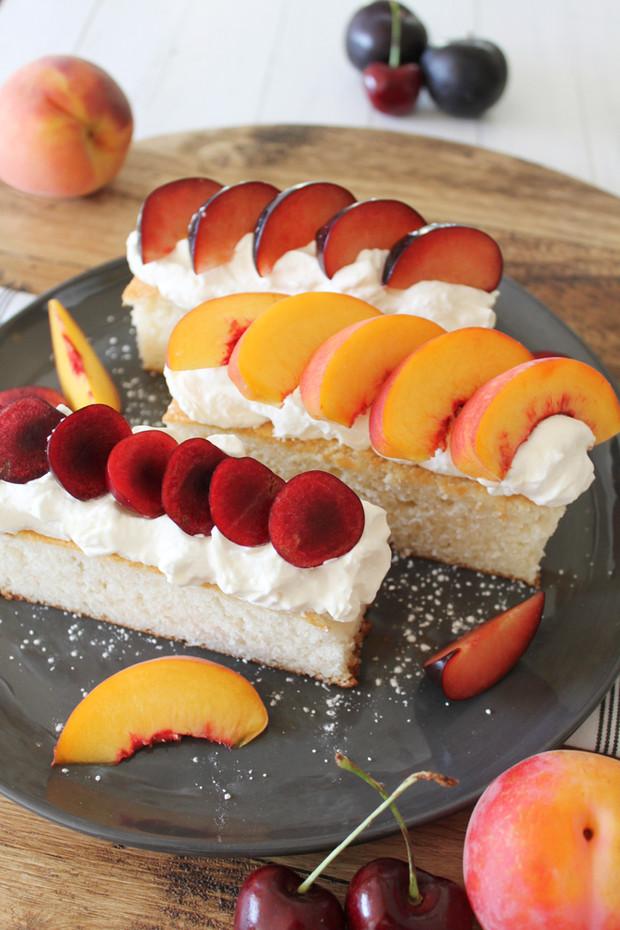 Stone Fruits & Cream with Vanilla White Cake